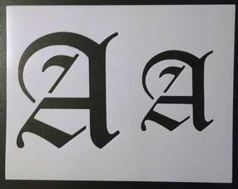 """Old Olde English Font A (6"""" and 4"""" tall) Custom Stencil FAST FREE SHIPPING"""