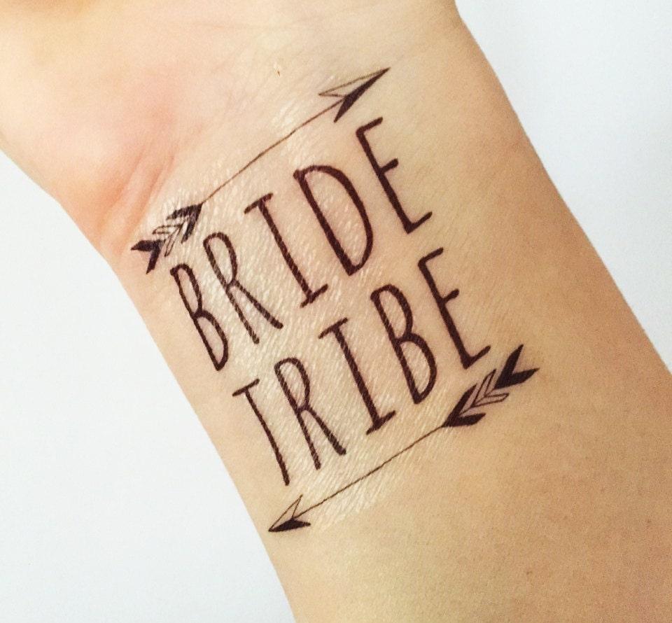 Bride tribe hen party custom temporary tattoo bachelorette pub for Custom temporary tattoos no minimum