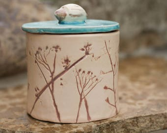 Floral sugar Bowl Honey jar Salt cellar Salt box Kitchen decor Pottery canister Lidded container Turquoise gift Salt keeper Honey dipper Jam