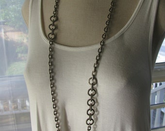 Heavy Metal, Long, Asymmetrical, Round and Oval Link, Antique Silver and/or Gunmetal Chain Necklace