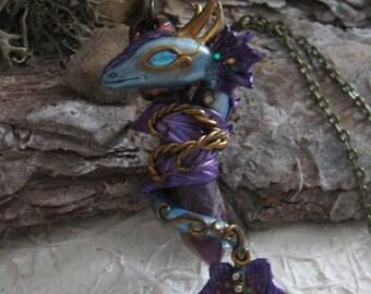 Coiling dragon on Amethyst
