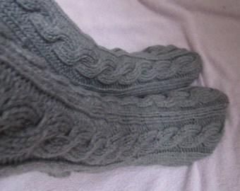 Grey hand knit socks, cashmere bed socks, Uk-10-11, US 11-13,Kozizake.