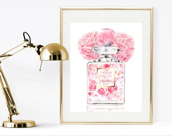 Chanel watercolor perfume print, printable chanel print, pink chanel print with pink flowers, chanel wall art , fashion illustration print