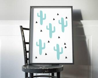 cactus Art Print // modern and simple nursery decor // Cute geometric cactus art print in teal and black