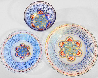 Moroccan Dinnerware, Hand Painted Glassware, Pretty Dinnerware, Mandala, Eclectic, Contemporary, Mediterranean, Dining Set, Plates, Dishes