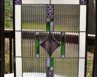 Leaded stained glass panel - diamond purple center, green, 17 x 22