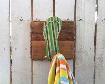 Reclaimed Wood Wall Art, Outdoor Towel Rack, Bathroom Towel Hooks, Flip Flop Decor, Dog Leash Holder, Entryway Coat Hook, Housewarming Gift