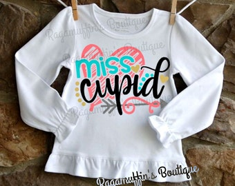 Miss Cupid shirt, Valentine shirt, Valentines day shirt, cupid shirt, toddler girls Valentines shirt, Girls valentines shirt, love shirt