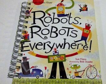 Robots, Robots Everywhere  storybook journal, recycled journal book, little golden book journal