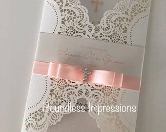 Luxury Laser Cut Christening Invitation