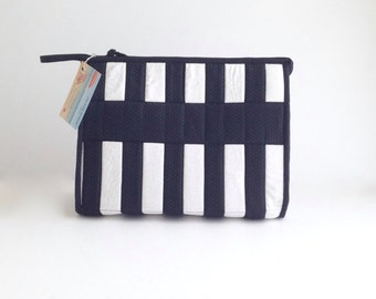 Black and White Bag, Zippered Bag, Travel Bag, Supply Bag, Large Make Up Bag,