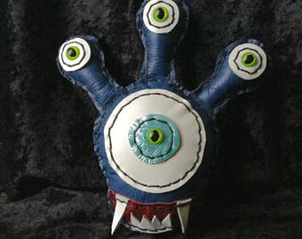 Leather Beholder Stuffed Toy in Purple with Green eyes