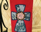 Easter, Red Towel, Kitchen Towel, Guest Towel, Appliqué, Tea Towel, Hostess Gift, Teacher Gift, Thank You Gift, Housewarming Gift, Cross