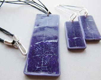 Purple polymer clay necklace and earrings set