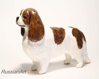 Cavalier King Charles Spaniel statue, figurine handmade of ceramic, statuette
