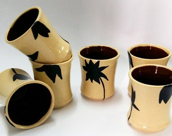 Beige and Black Tumblers Set of 6