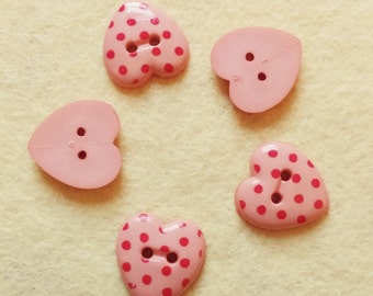 5 coral pink heart shaped spotty buttons with red dots. #01B