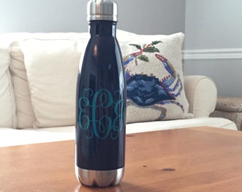Personalized Stainless Steel Water Bottle - Monogrammed Swell Like Water Bottle - Yeti Like - Monogrammed Water Bottle - Swell Decal