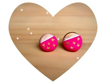 stud earrings, polymer clay earrings, pink earrings, gold earrings, clay jewelry, gift for her, teacher gifts, gift for mom, dot earrings