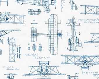 Vintage Blueprints Airplanes Blue Aeroplane Flight Plane Blue Travel Cotton Fabric by Robert Kaufman
