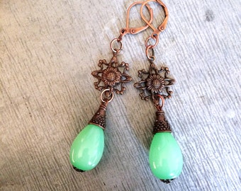 Green glass earrings, green earrings, glass bead earrings, up cycled earrings, vintage bead earrings, copper and green