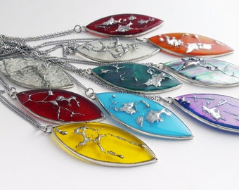 Stained glass necklaces-collection splashs of tin-tiffany-glass-leaf-resin-recycled materials
