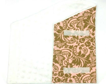 Pink/brown floral blanket/robe/wrap with white plush lining for bearded dragon/reptile/small pet/animal