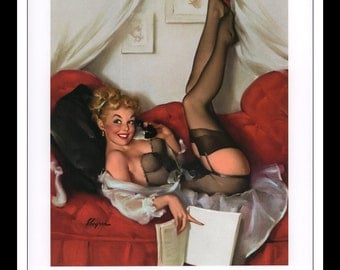 """Gil Elvgren Vintage Pinup Illustration """"A Number To Remember 1957"""" Sexy Pinup Mature Wall Art Deco Book Print 9 3/4"""" x 14"""""""