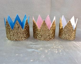 Gold pink, blue and white glitter crown, princess crown, birthday crown, boy crown, girl crown