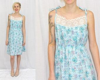 Vintage 80s Blue FLORAL Lace Tie Shoulder Retro Summer SUN Midi Party Dress S