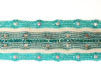 Beaded bracelet miyuki delica beads and crystals - aqua, white, pink