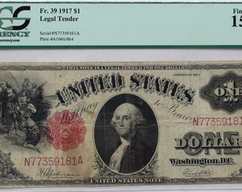 1917 US 1 Dollar Bill Legal Tender Banknote, Authenticated by PCGS, Old Antique United States Currency Paper Money American Note