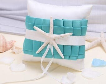 8''x8'' White Turquoise Starfish Satin Sea Shell Ring Bearer Pillow Beach Themed Wedding Favors Bridal Shower Party Decoration