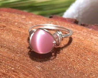 Pink Cats eye ring