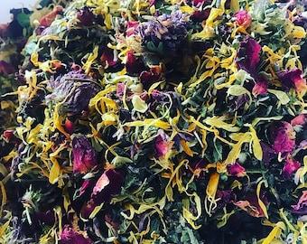 flower tonic | cleansing tea | loose leaf tea | herbal tea | organic tea | health tea | gifts for her