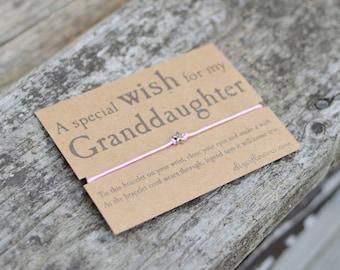 Granddaughter Wish Bracelet, Make a Wish Bracelet, Gift For Granddaughter, Cord Bracelet and Gift Card.