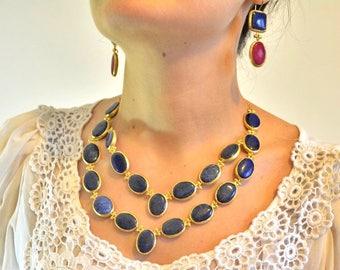 20 navy blue lapis lazuli natural stone necklace, 18k gold filled, parlament blue oval choker short bezel frame handmade chain jewelry