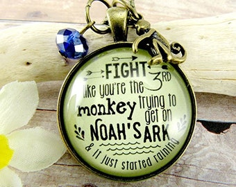 Fight Like You're The Third Monkey Trying to Get on Noah's Ark Whimsical Necklace Survivor Humorous Fun Necklace Umbrella Charmy
