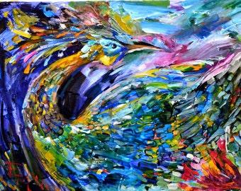 Original painting bird of happiness