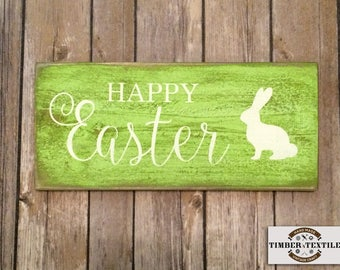 """Wood Easter Sign with Bunny, Rustic Easter Sign, Green Easter Sign, Easter Bunny Sign, 5.5"""" x 12"""""""