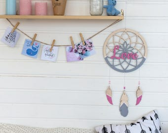 Wooden dreamcatcher - Personalized gift - Wedding gift - Engagement gift - Gift for couple - Valentines gift-Anniversary gift-Valentines day