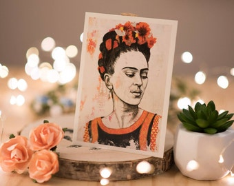 Card - Postcard - Art - Frida Kahlo painting - Frida Kahlo Portrait