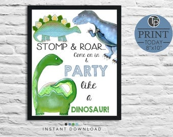 DINOSAUR WELCOME SIGN, Instant Download Signs, Dinosaur Sign, Dinosaur Birthday Welcome Sign, Dinosaur Party, Dinosaur Printable, 0202