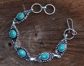 Tribal bracelet, turquoise bracelet, sterling silver plated bracelet, ethnic jewelry, turquoise, Boho Bracelet (B178)