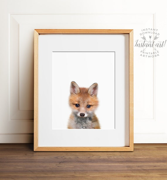 Fox print, PRINTABLE art, Fox wall art, Nursery decor, Animal art, Baby animal prints, Nursery wall art, Woodland animal prints, kids art
