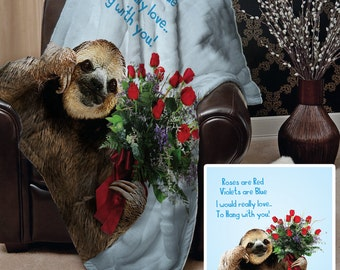 Valentines Day Gift Cute Sloth Roses Are Red Poem Design Fleece Blanket Throw Picnic Blanket Various Colour Options