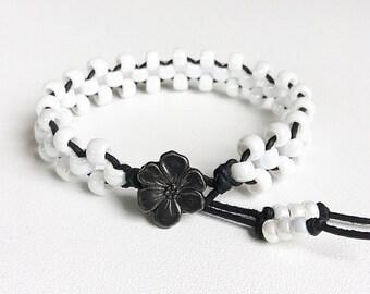 Handmade white beaded bracelet, leather and bead bracelet, womans bracelet, woven leather bracelet handmade by rubybluejewels