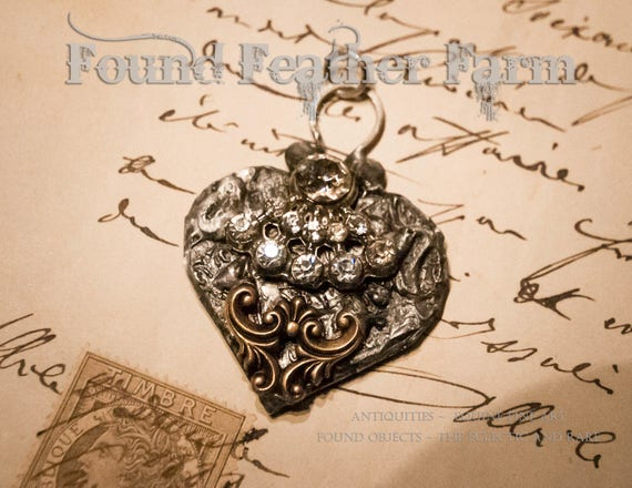 Handmade Embossed Heart Pendant with Vintage Jewels and Bronze Scroll Detail