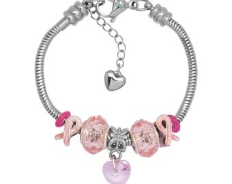 Timeline Treasures Charm Bracelet With Charms For Women, Stainless Steel, Fits European Jewelry, Pink Ribbon 2016
