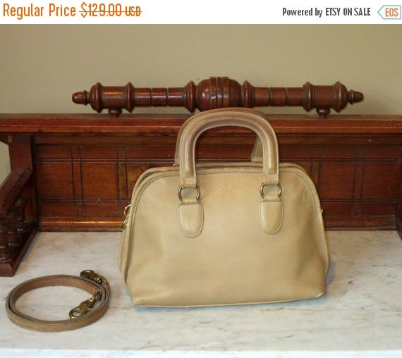 Football Days Sale Coach Baxter Bag Saddle (Stone?) Leather Satchel Duffel With Optional Crossbody Strap- Very Nice- VGC- Made In U.S.A.